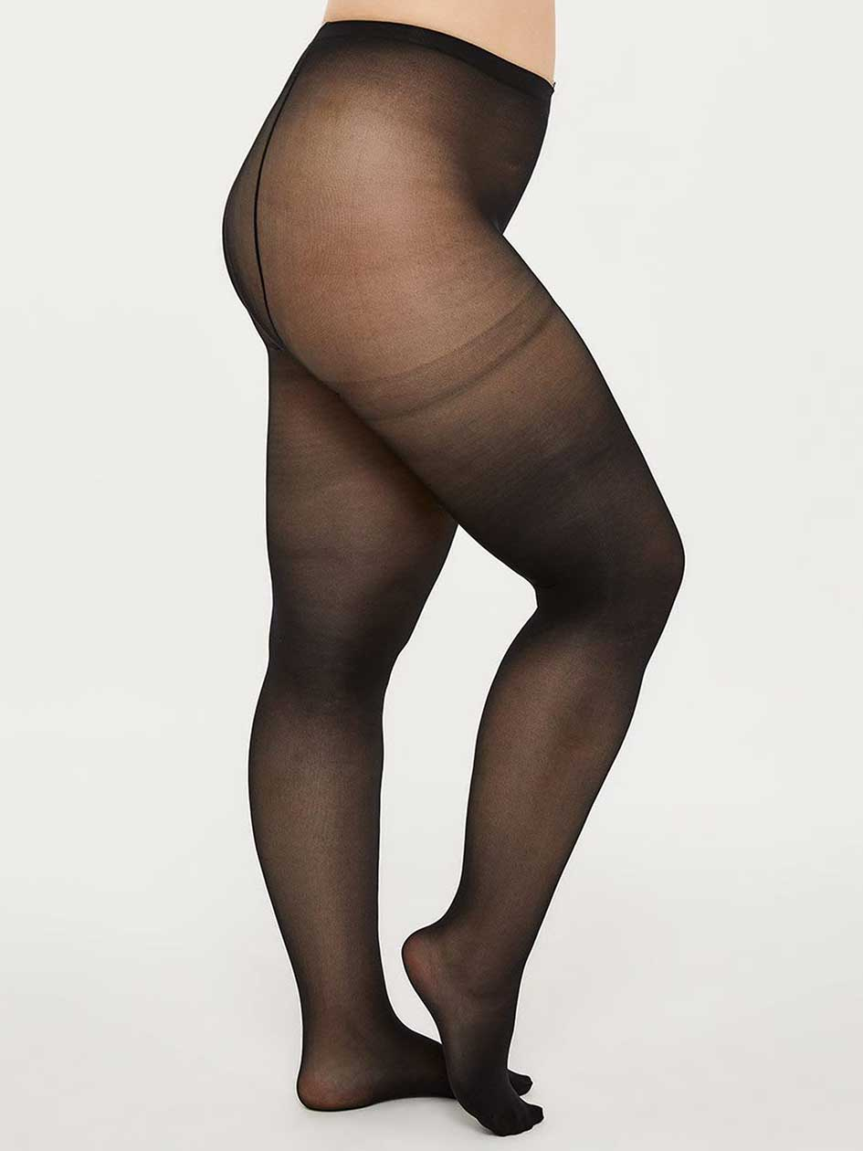 3625d4b1b Basic Black Tights with Sewn-In Panel