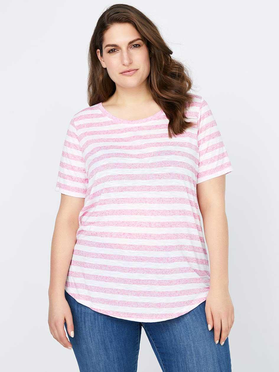 Girlfriend Fit Stripe T-Shirt with Pocket - d/C JEANS