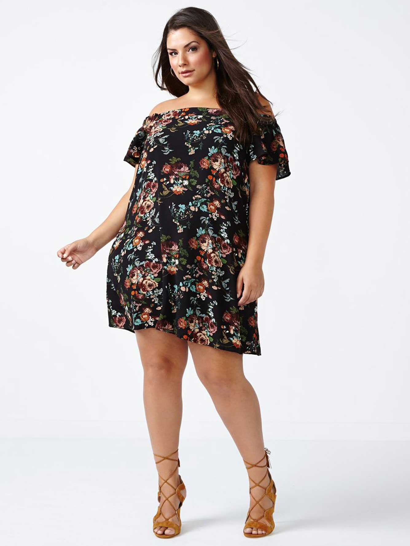 ONLINE ONLY Off Shoulder A-Line Floral Dress