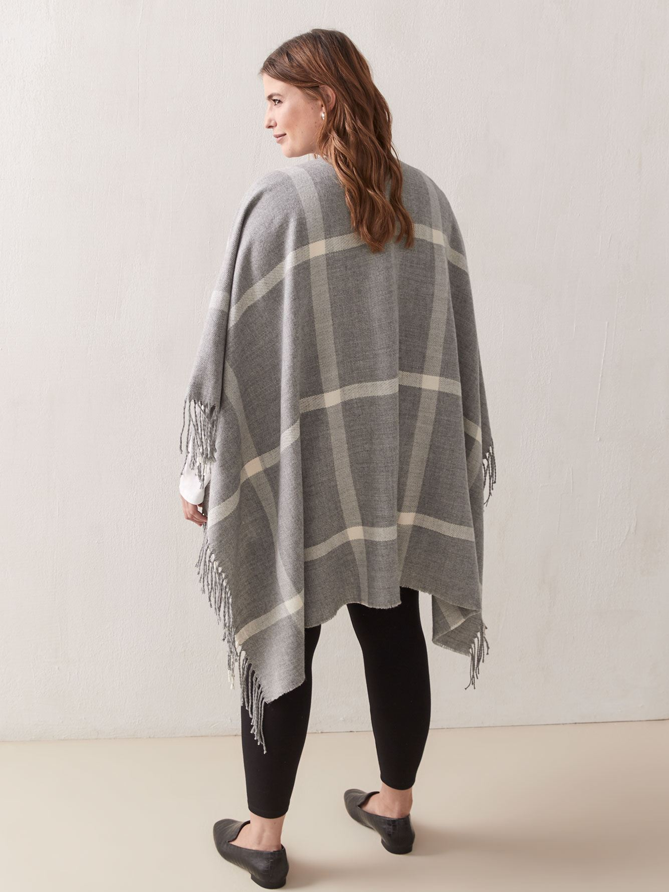 Patterned Fringe Cape - Addition Elle