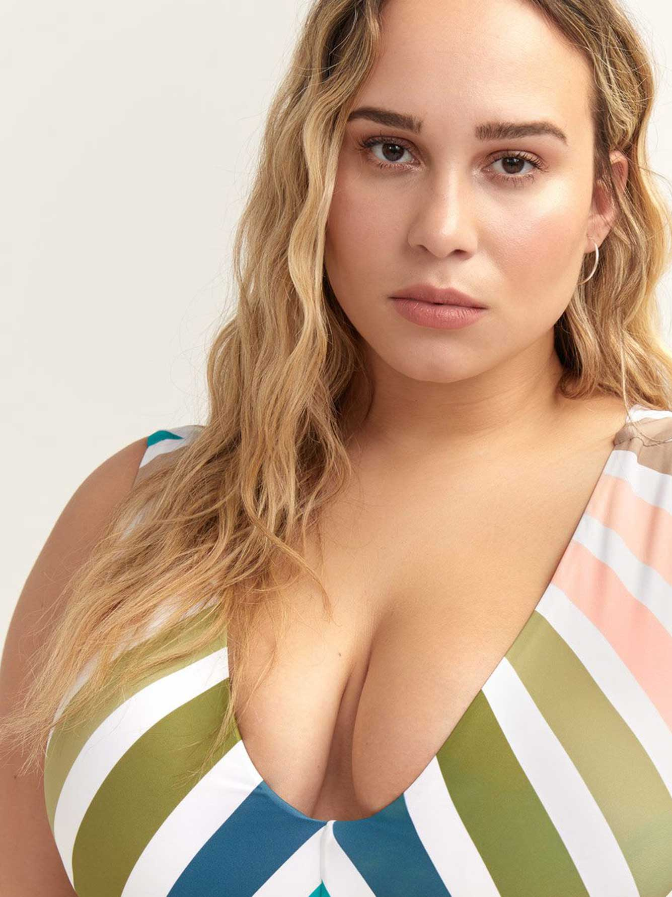 Sonora Striped Swim Top - Raisins Curve