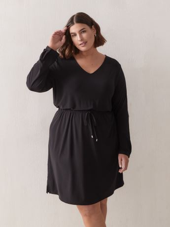 Solid Long-Sleeve Flared Jersey Dress - In Every Story