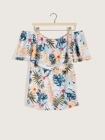 Printed Sleeveless Bardot Swing Top - In Every Story
