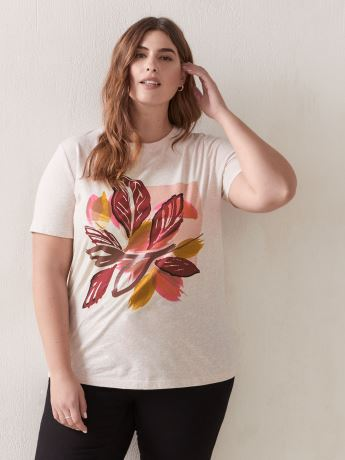 Printed Crew Neck T-Shirt - Addition Elle