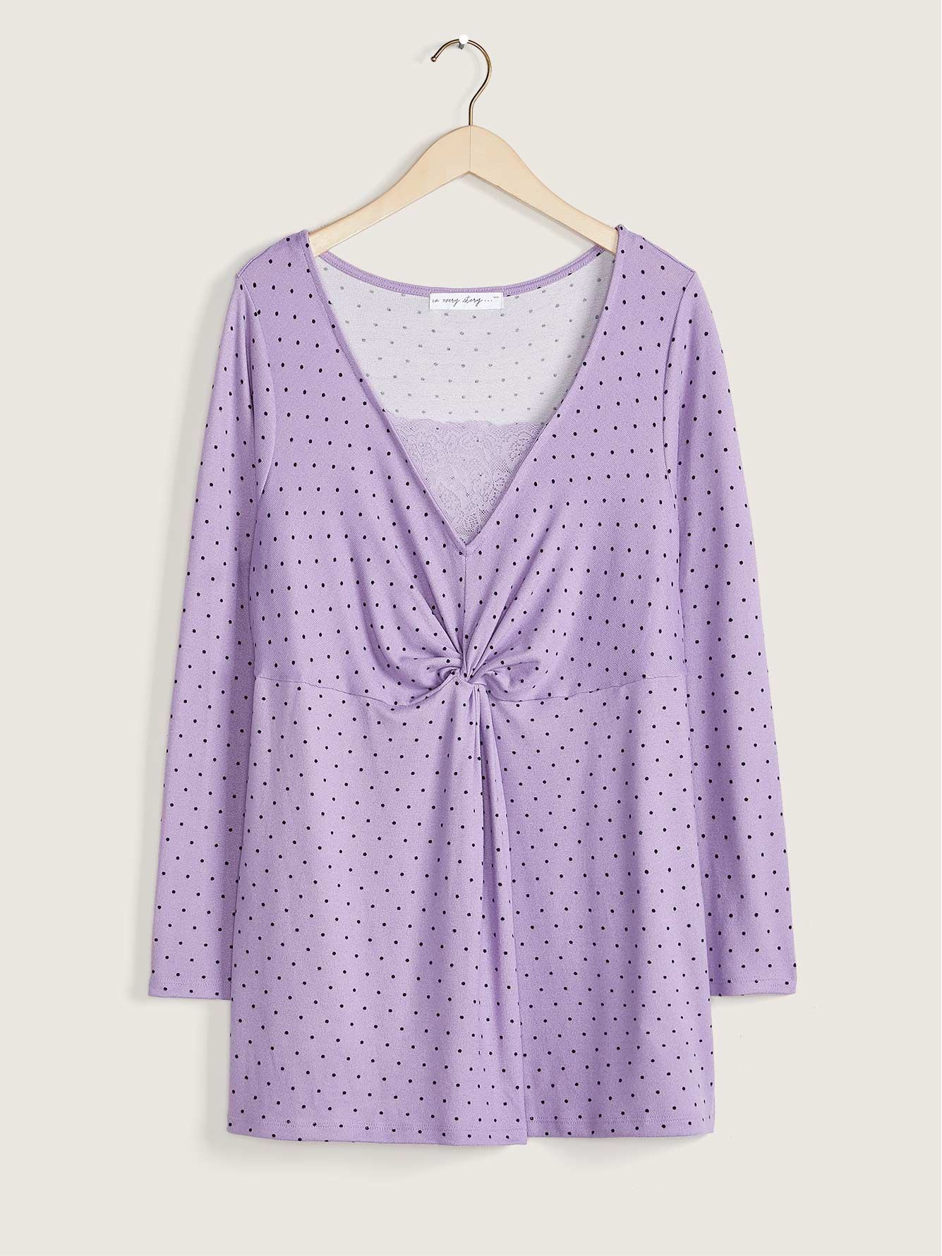 Tunic Top With Knot and Lace Detail - In Every Story