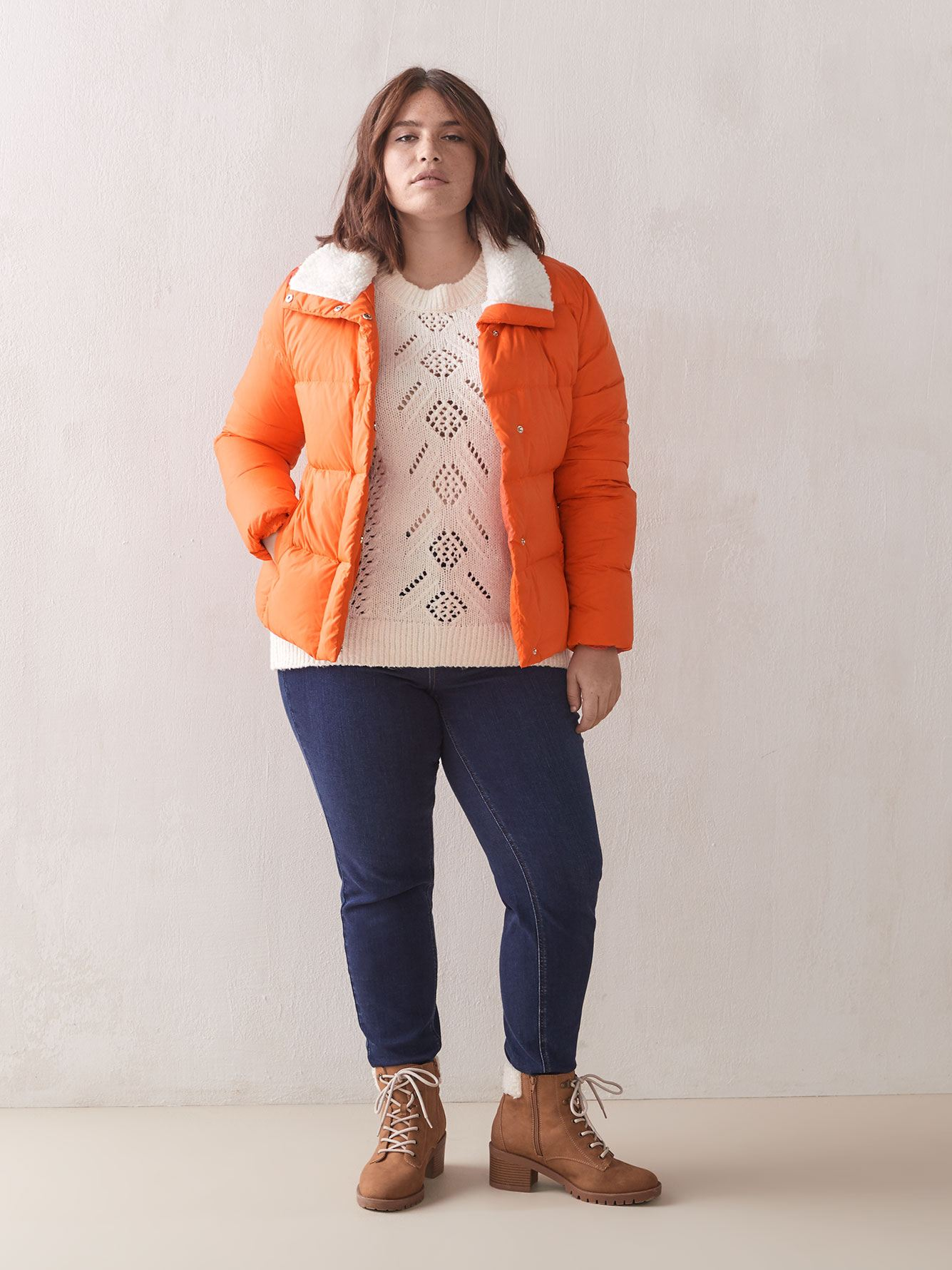 Sherpa Collar Down Puffer Jacket - Addition Elle