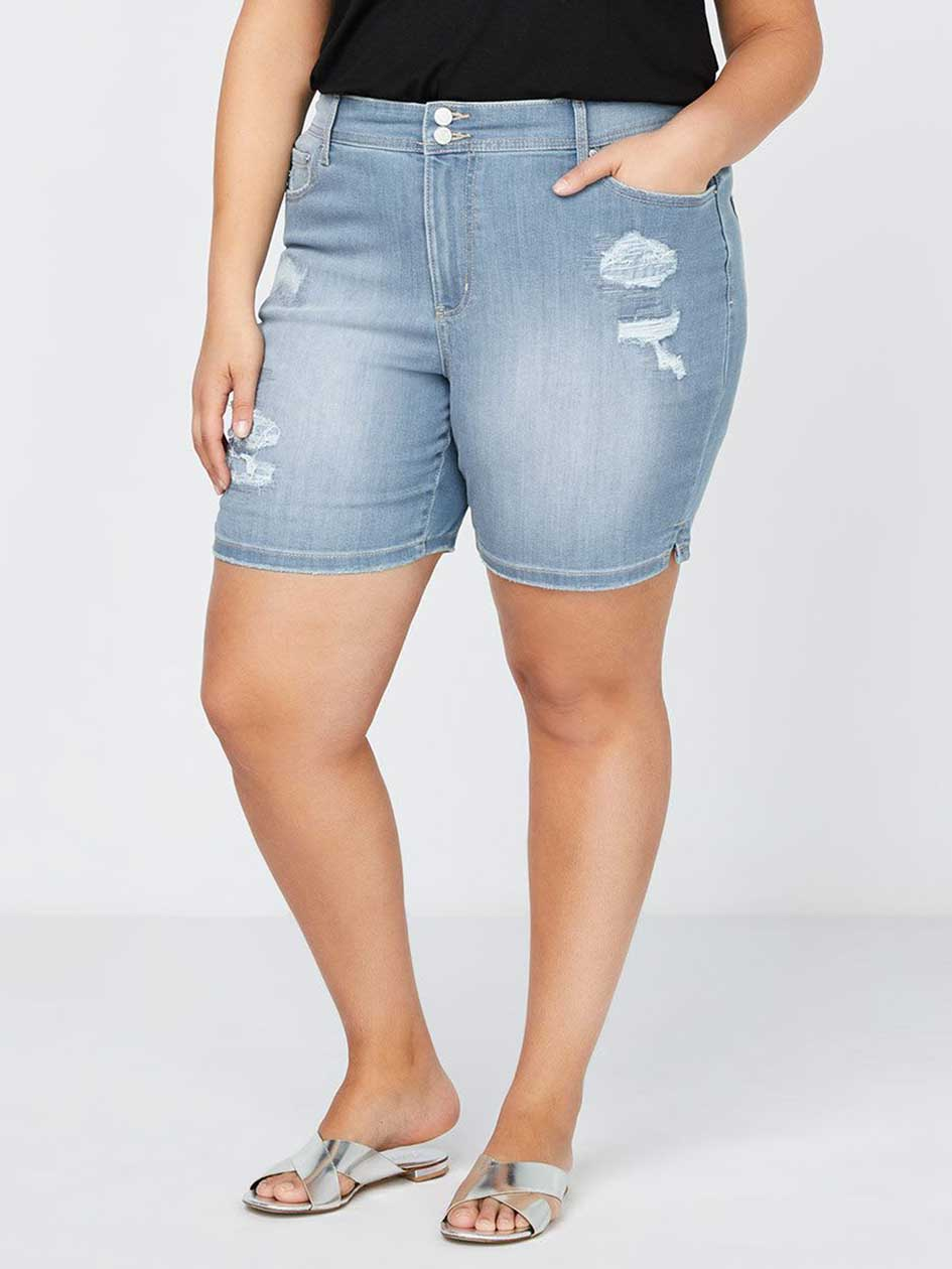 Slightly Curvy Fit Denim Short with Rips - d/C JEANS