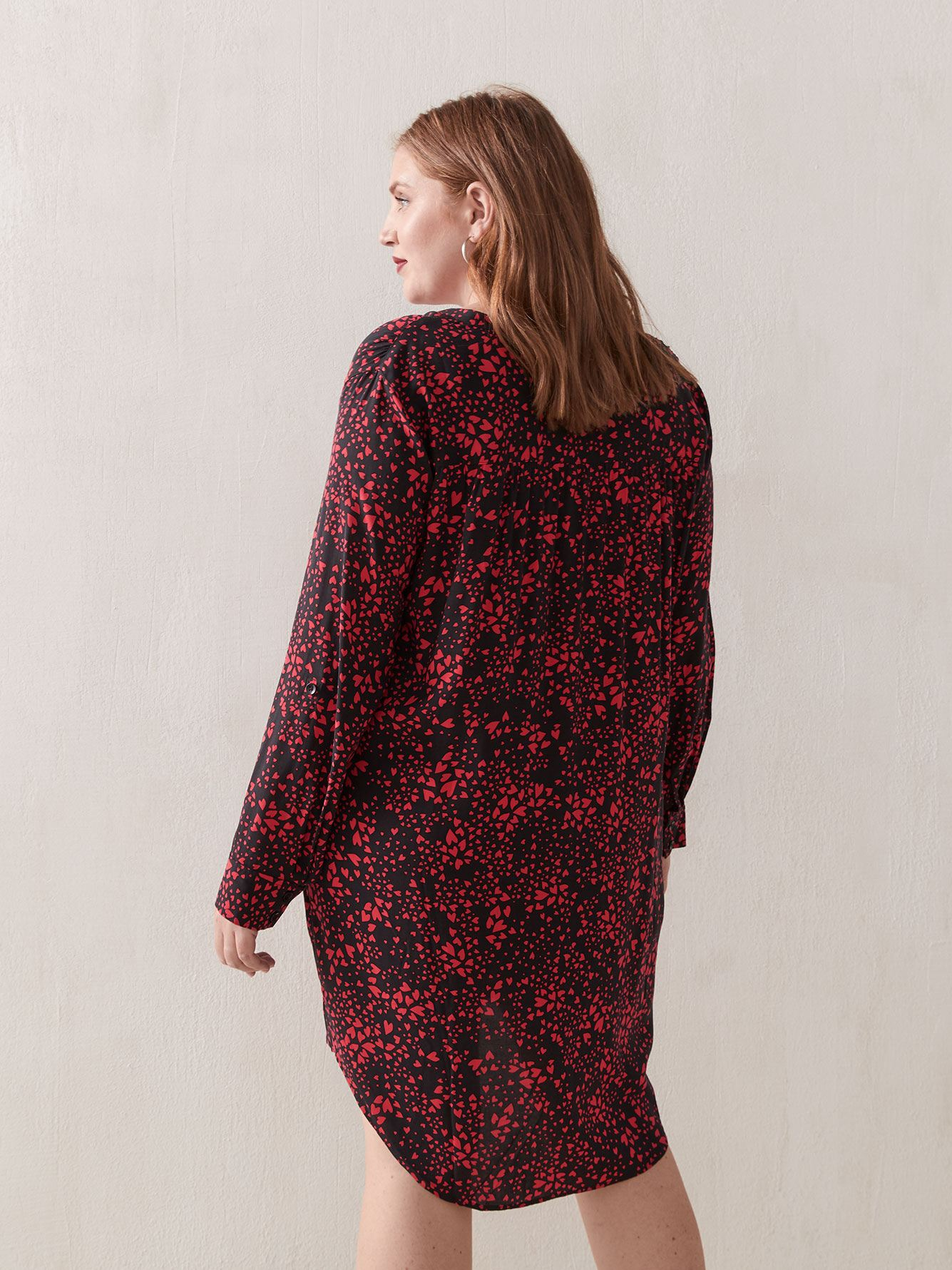 Printed Long-Sleeve Shirt Dress - Love & Legend