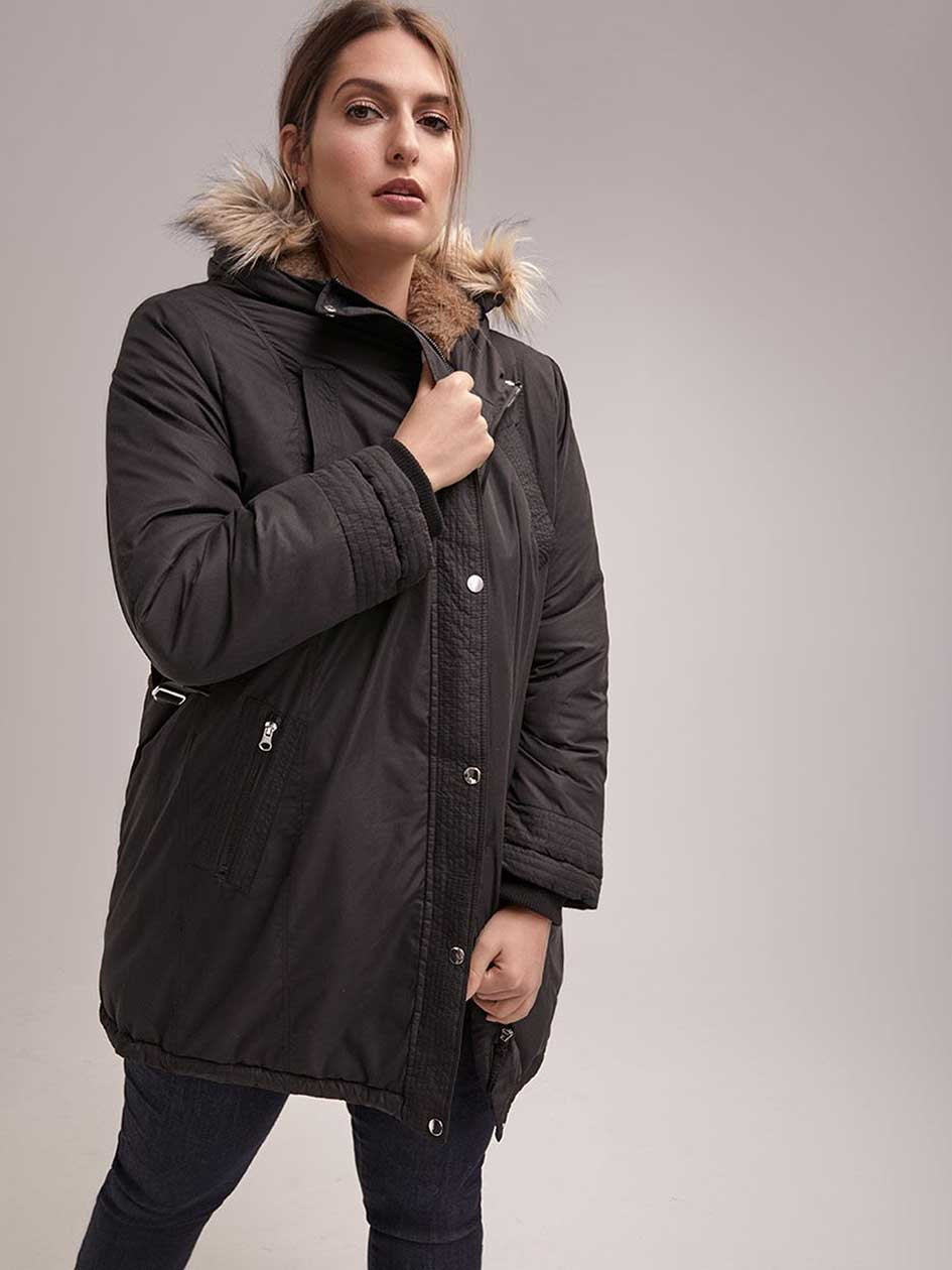 Mid-Length Parka with Faux-Fur Hood - In Every Story