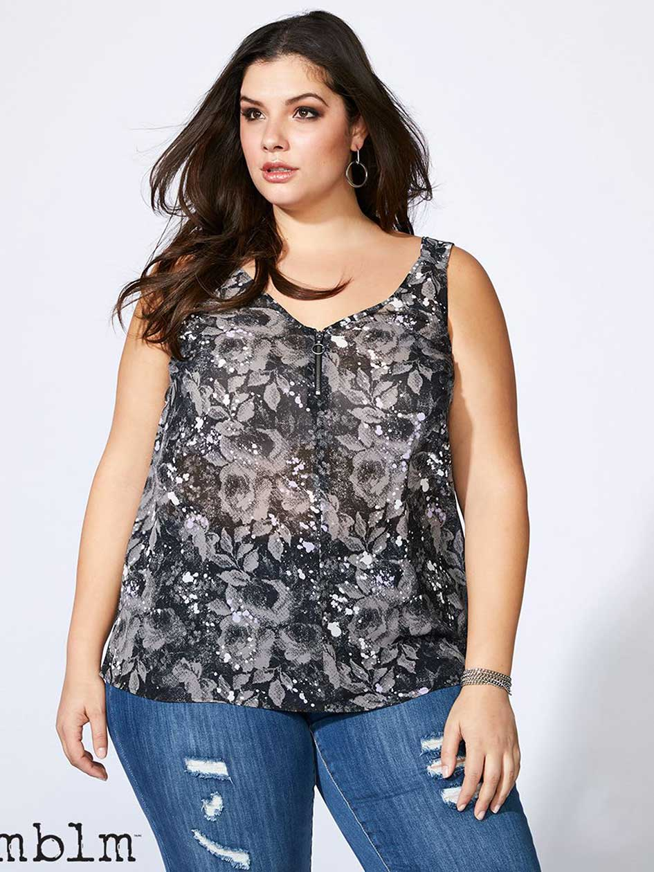 Sleeveless Printed Blouse with Zip - mblm