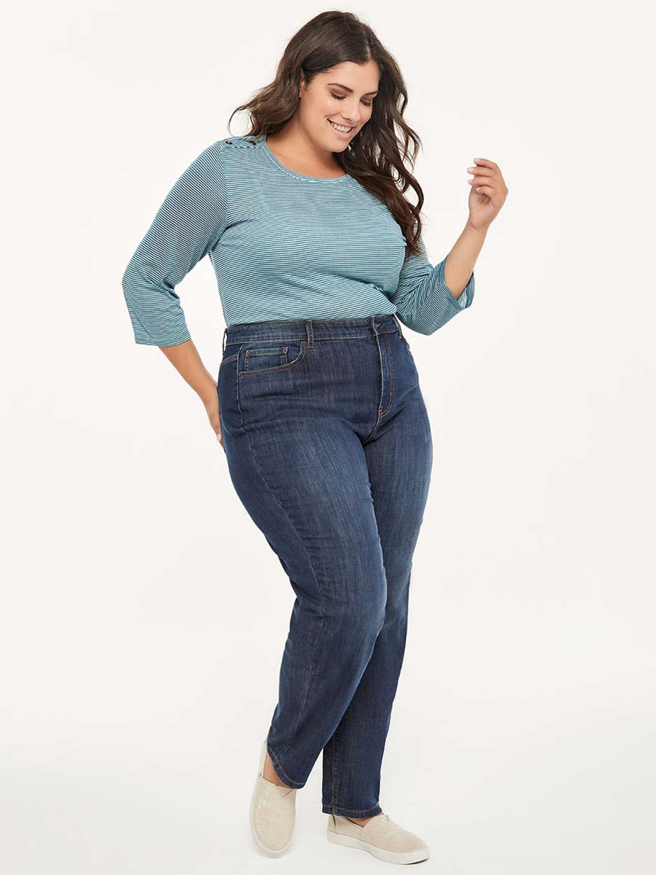 Curvy Fit Straight Leg Jean With Embroidery D C Jeans