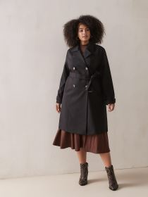 Black Trench Coat with Horn Buckles