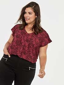 Printed Blouse with Ruffle Sleeves - In Every Story