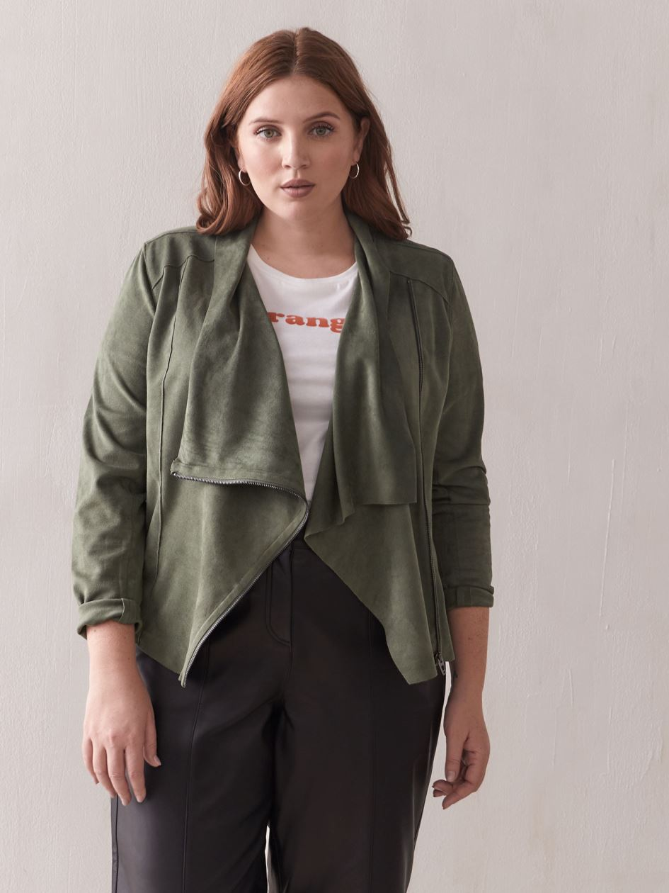 Faux-Suede Drape-Front Jacket - Blank NYC