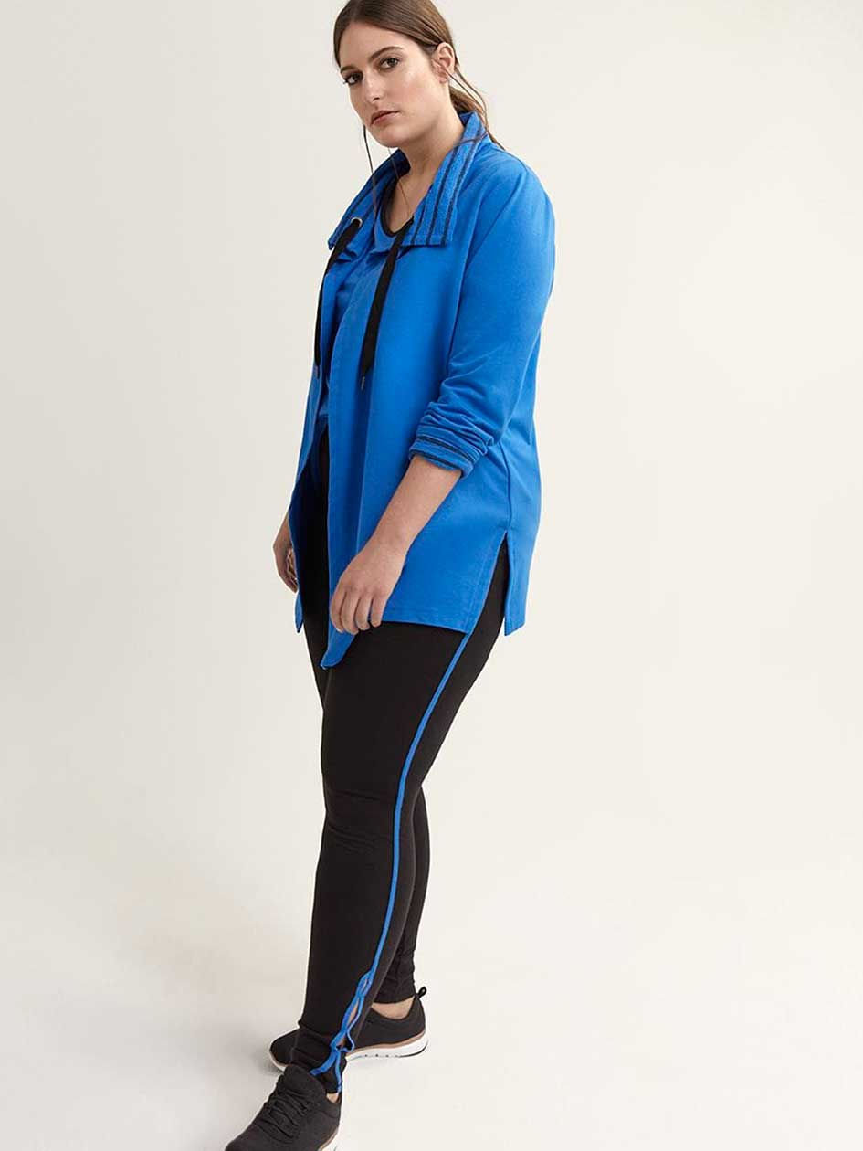 Plus Size Long Sleeve Jacket with Collar - ActiveZone