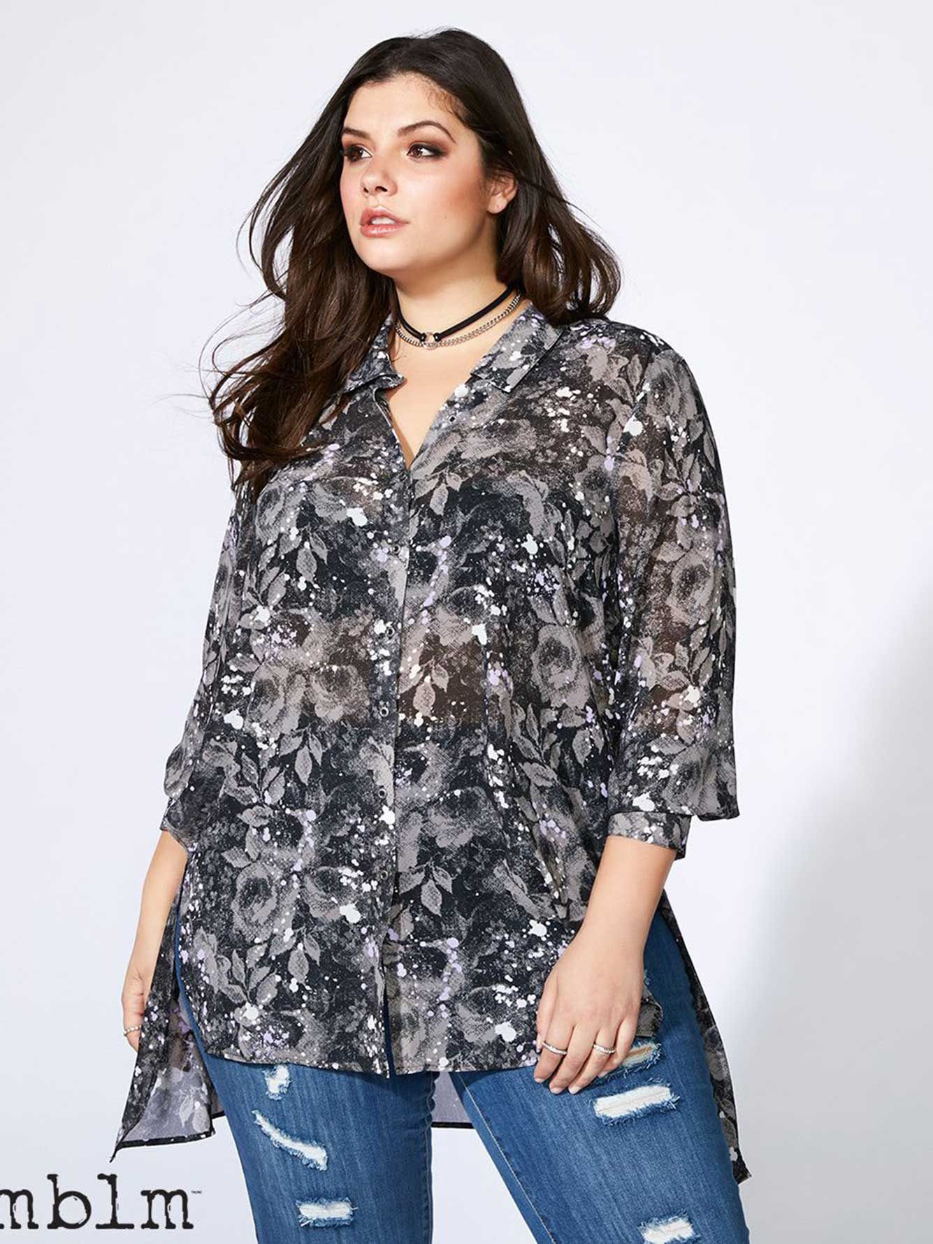 Printed Blouse with Back Detail - mblm