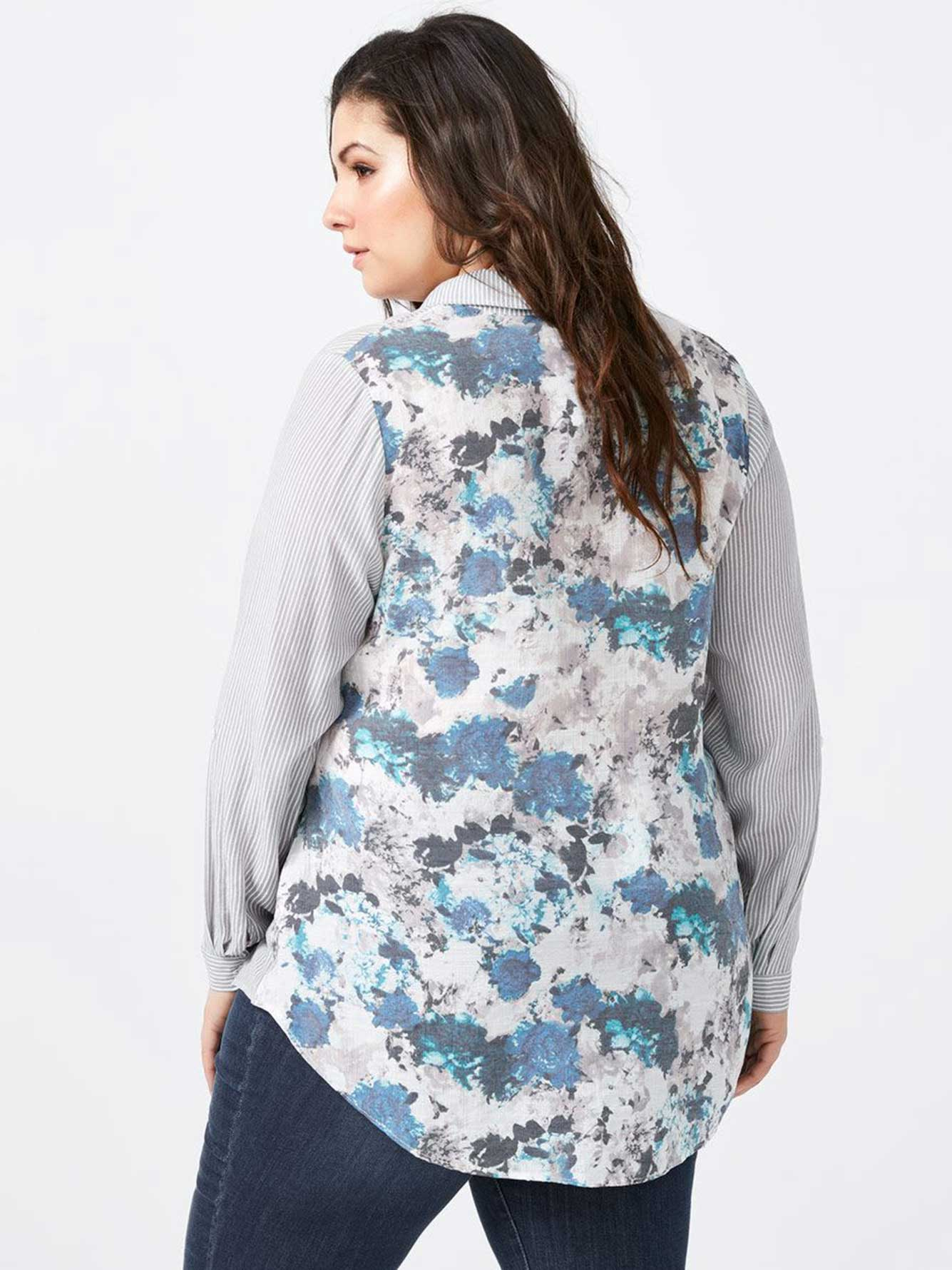 Printed Shirt with Contrasting Back - d/C JEANS
