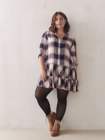 Plaid Babydoll Mini Dress - Addition Elle
