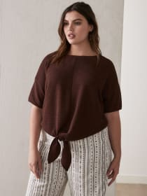 Tie Front Top with Drop Shoulders