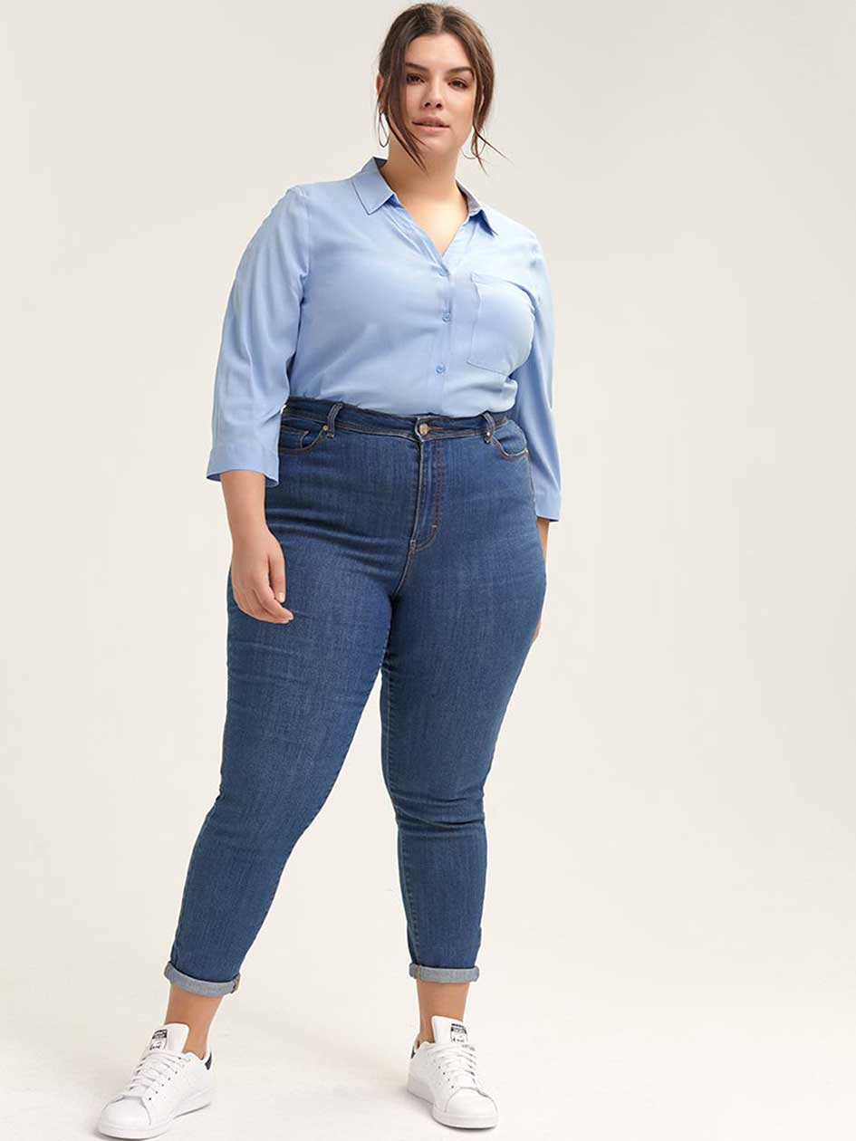 Solid 3/4 Sleeve Blouse - d/C JEANS