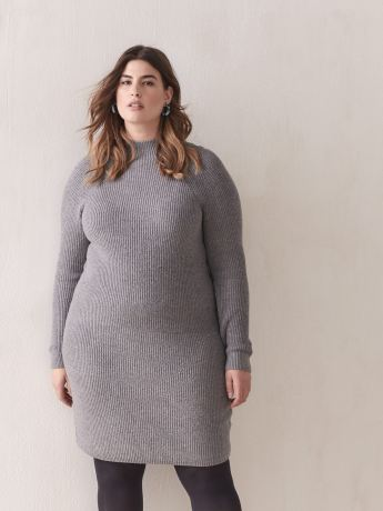 Ribbed-knit Sweater Dress - Addition Elle