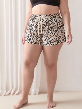 Animal Print Tie-Front Pajama Short - Addition Elle