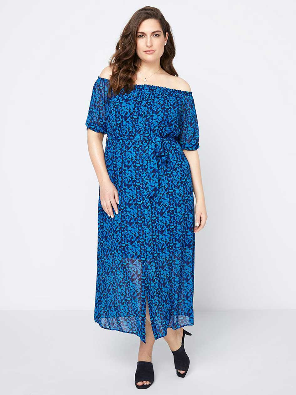 Printed Off-Shoulder Maxi Dress - In Every Story.Cobalt.3X