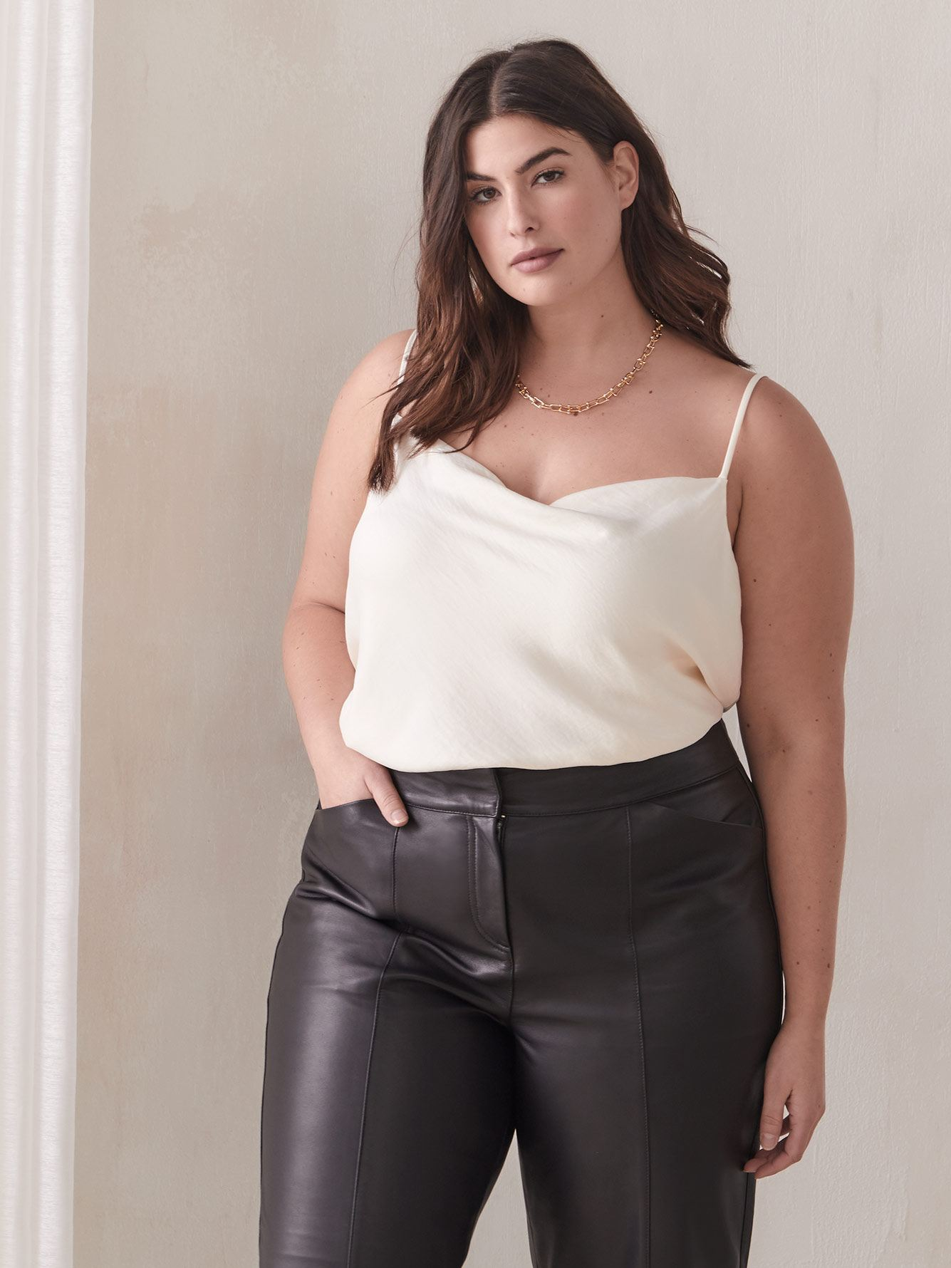 Cowl-Neck Satin Camisole - Addition Elle