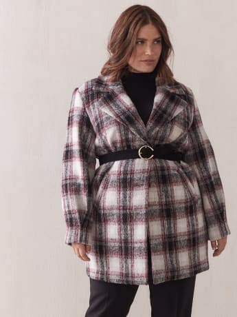 Mid-Length Plaid Cocoon Coat - Addition Elle