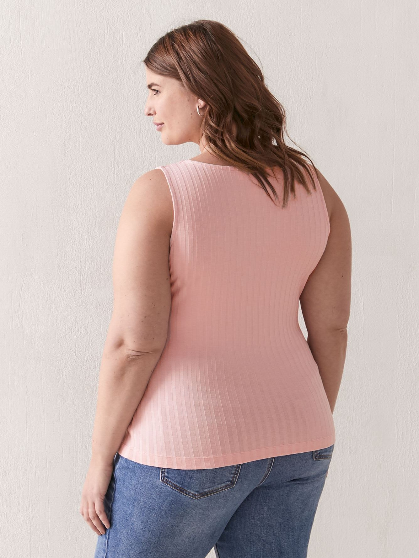 Solid Ribbed A-Line Tank - Addition Elle