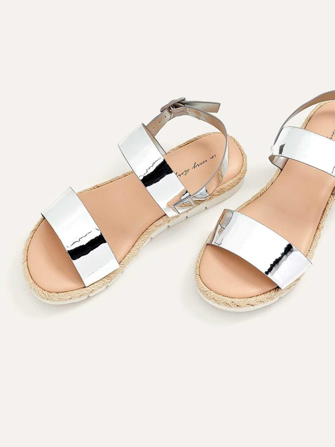 Wide Flat Metallic Sandals   Penningtons