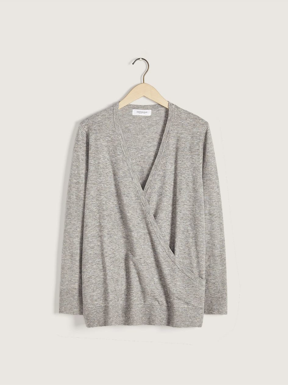 Long-Sleeve Faux-Wrap Sweater - Addition Elle
