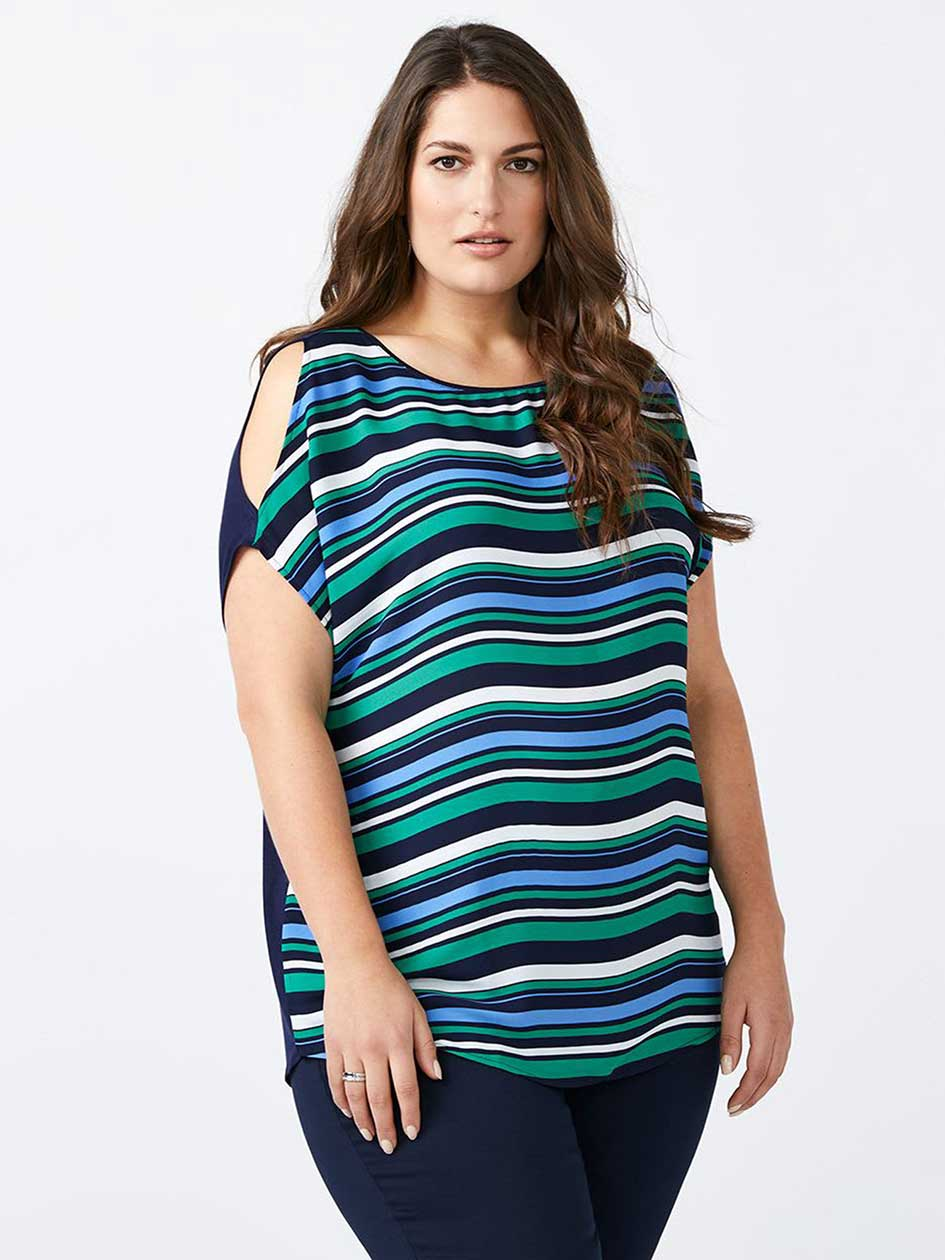 Striped Cold Shoulder Top - In Every Story