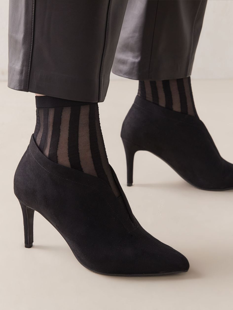 2 Pairs of Sheer Houndstooth & Stripe Socks - Addition Elle