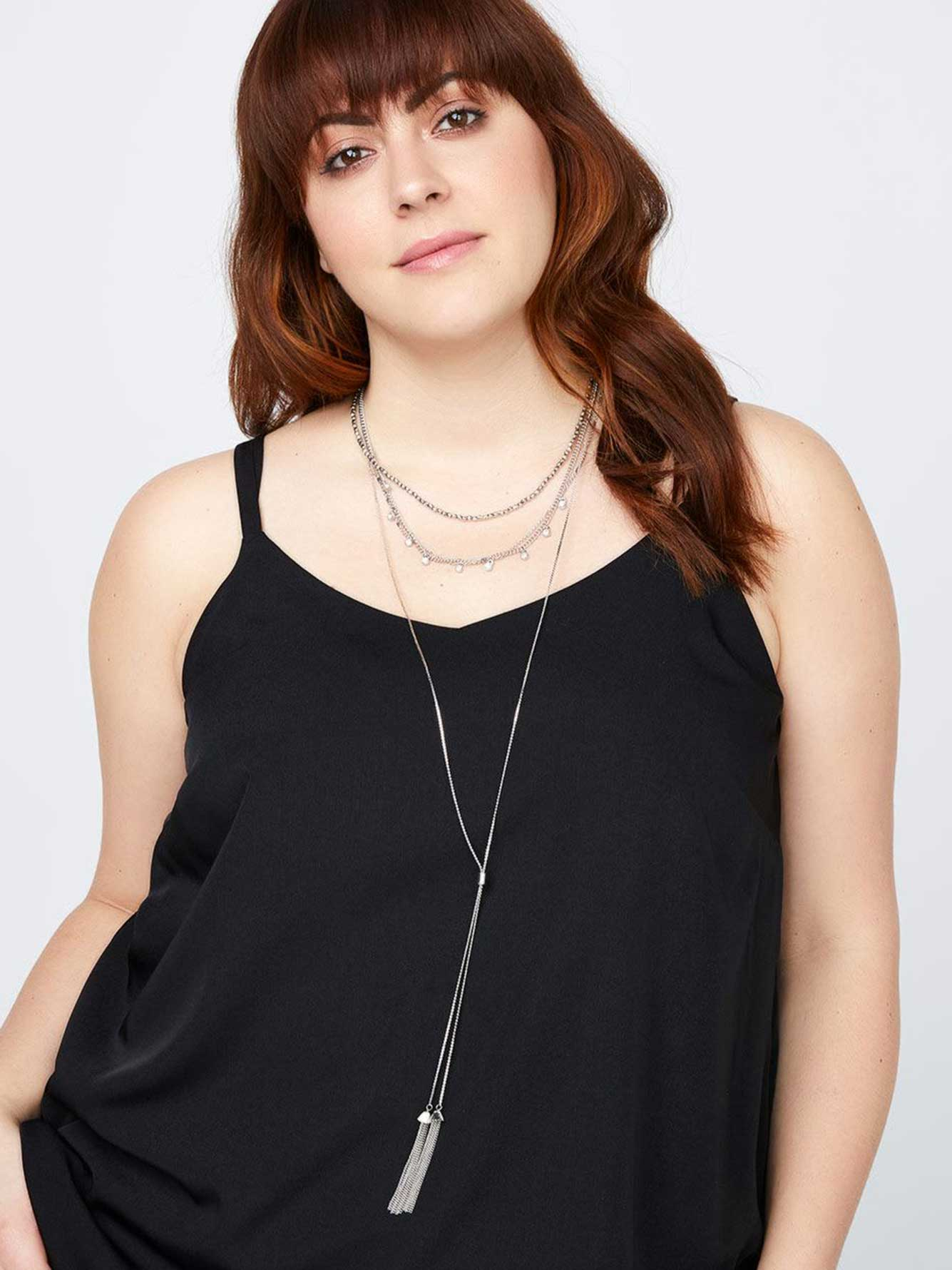 Multi-Row Necklace with Tassels