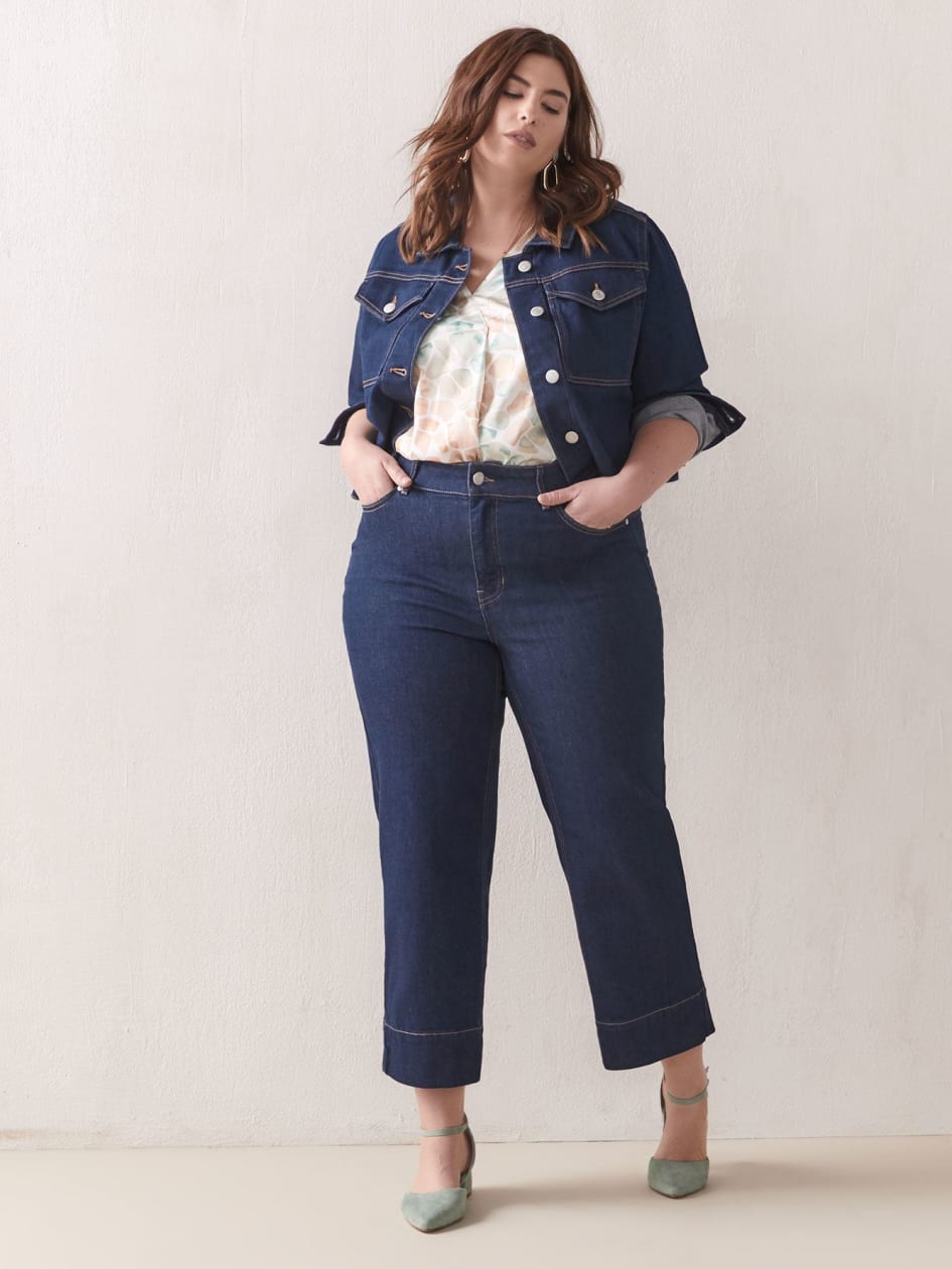 High-Waist Cropped Jeans - Addition Elle