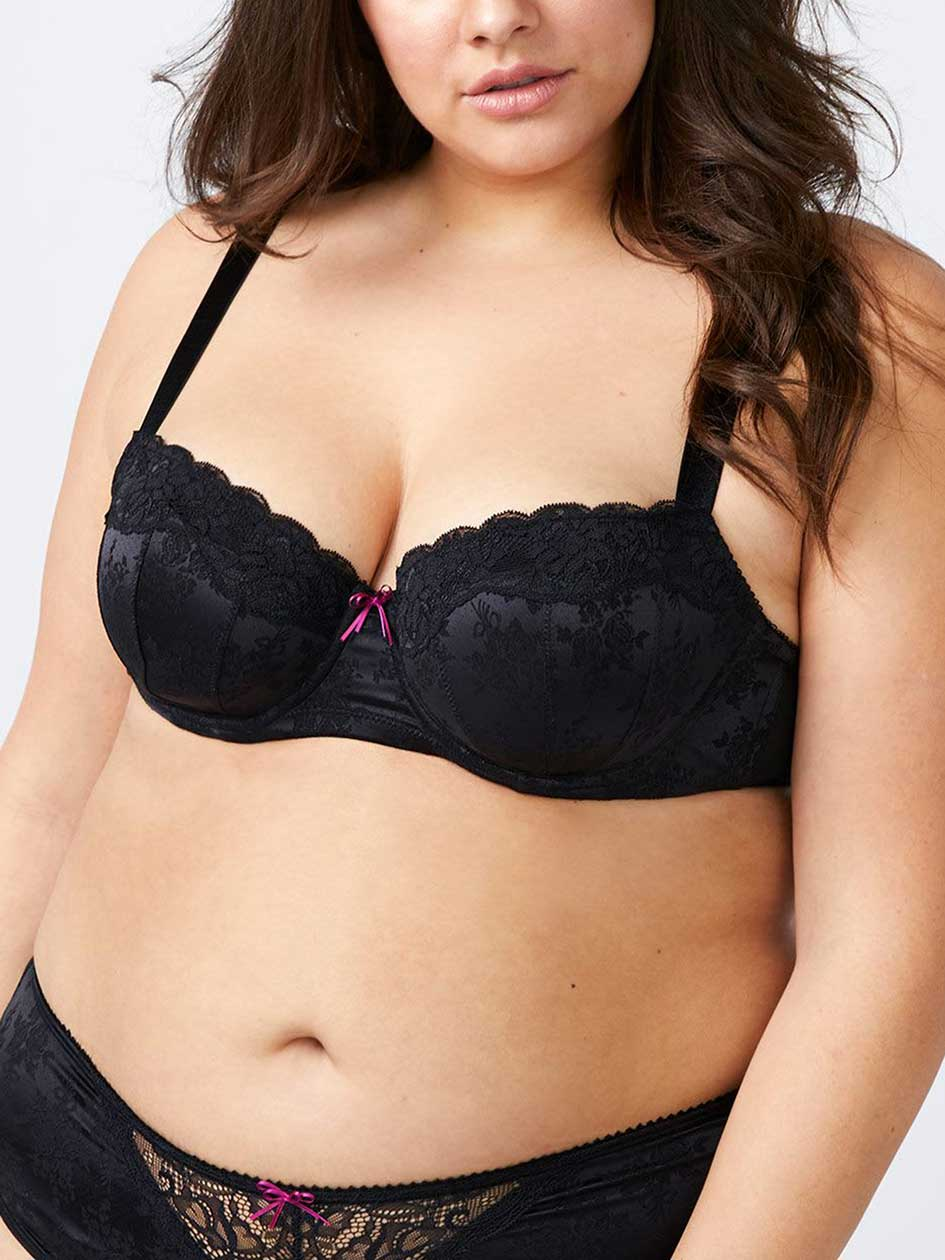 Patterned Padded Demi Bra with Lace, G&H Cups - ti Voglio