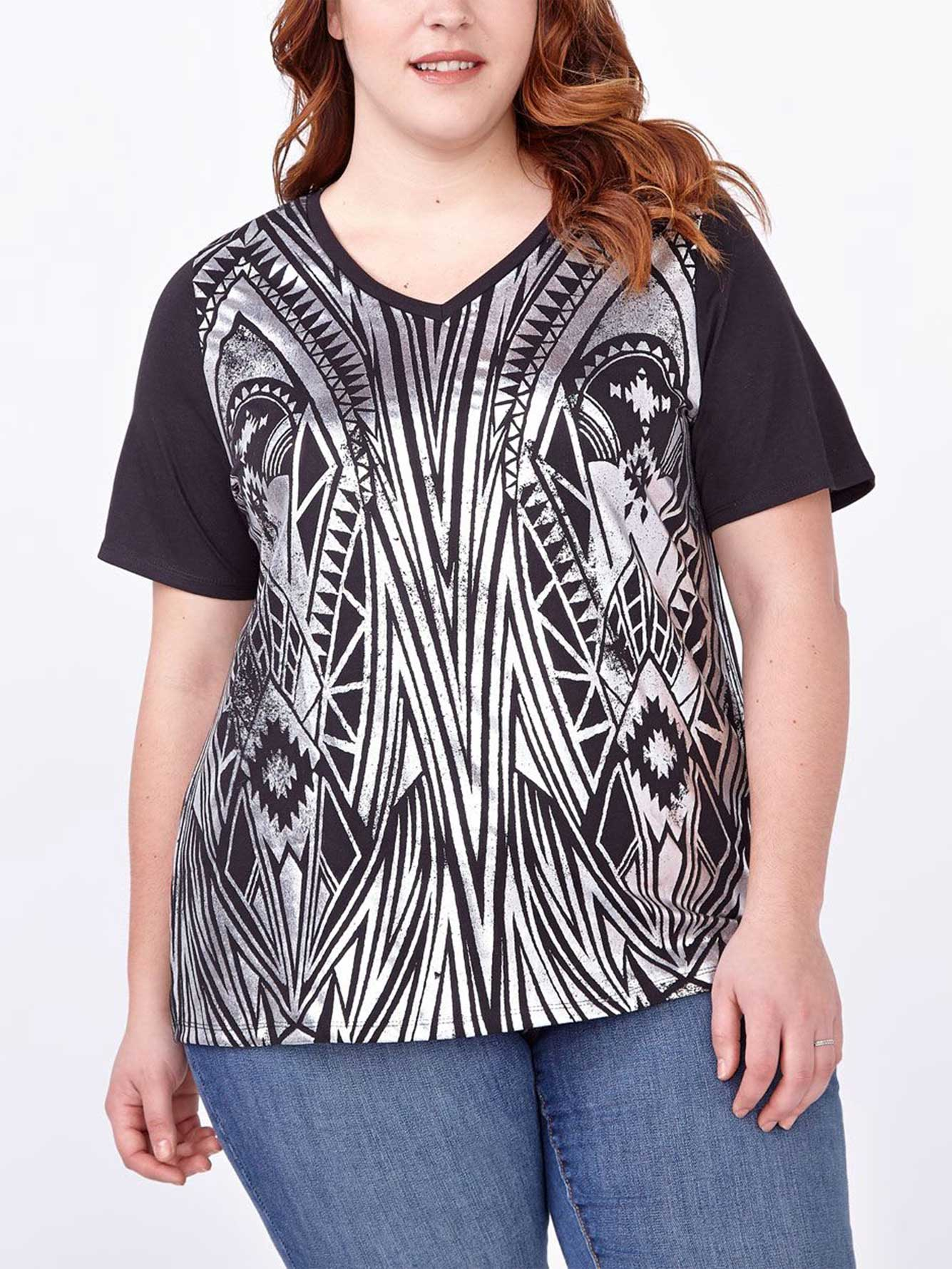 Shaped fit foil print t shirt penningtons for Foil print t shirts custom