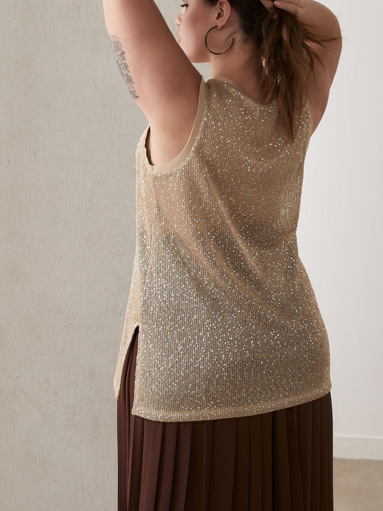 Open-Knit Scoop-Neck Cami with Sequin Details