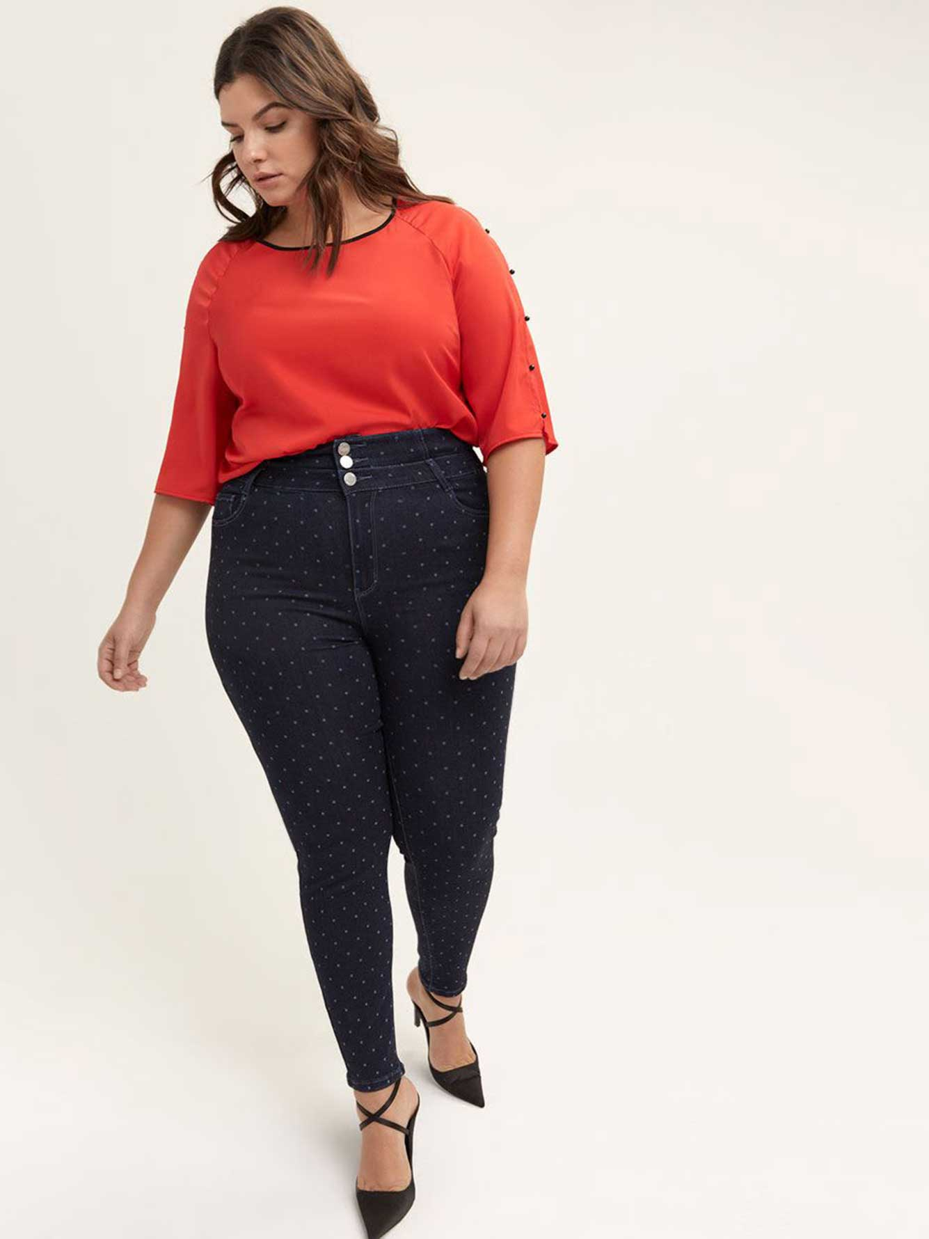 Printed Slightly Curvy High Waist Skinny Jean - d/C JEANS