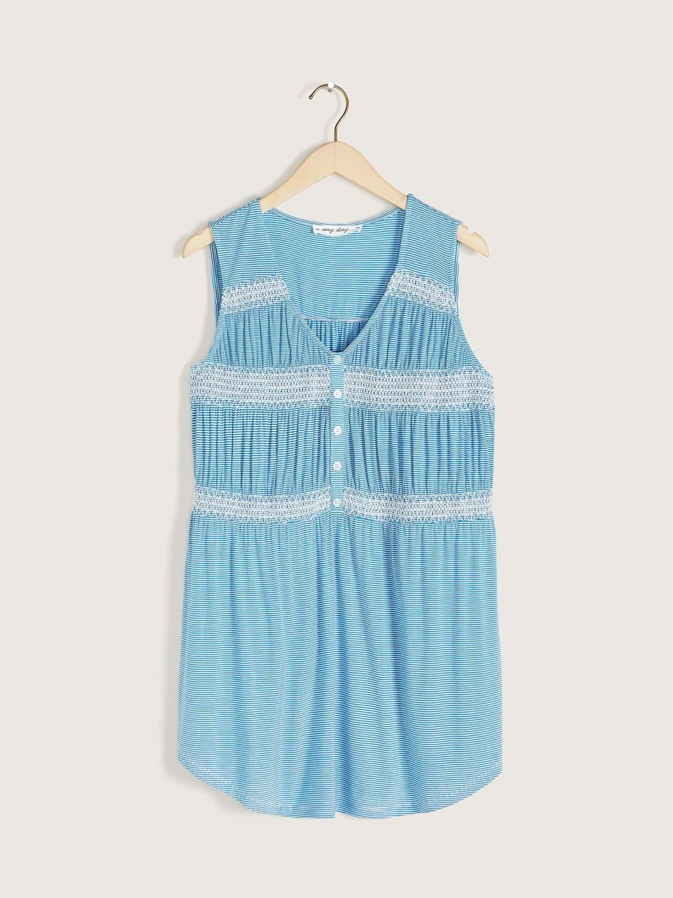 Smocked Sleeveless Tunic Top - In Every Story