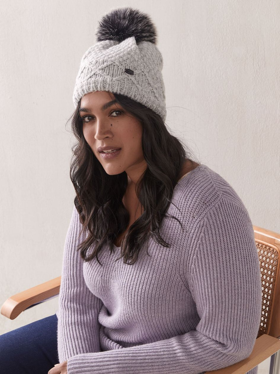 Knit Hat with Faux-Fur Pompom - Pajar