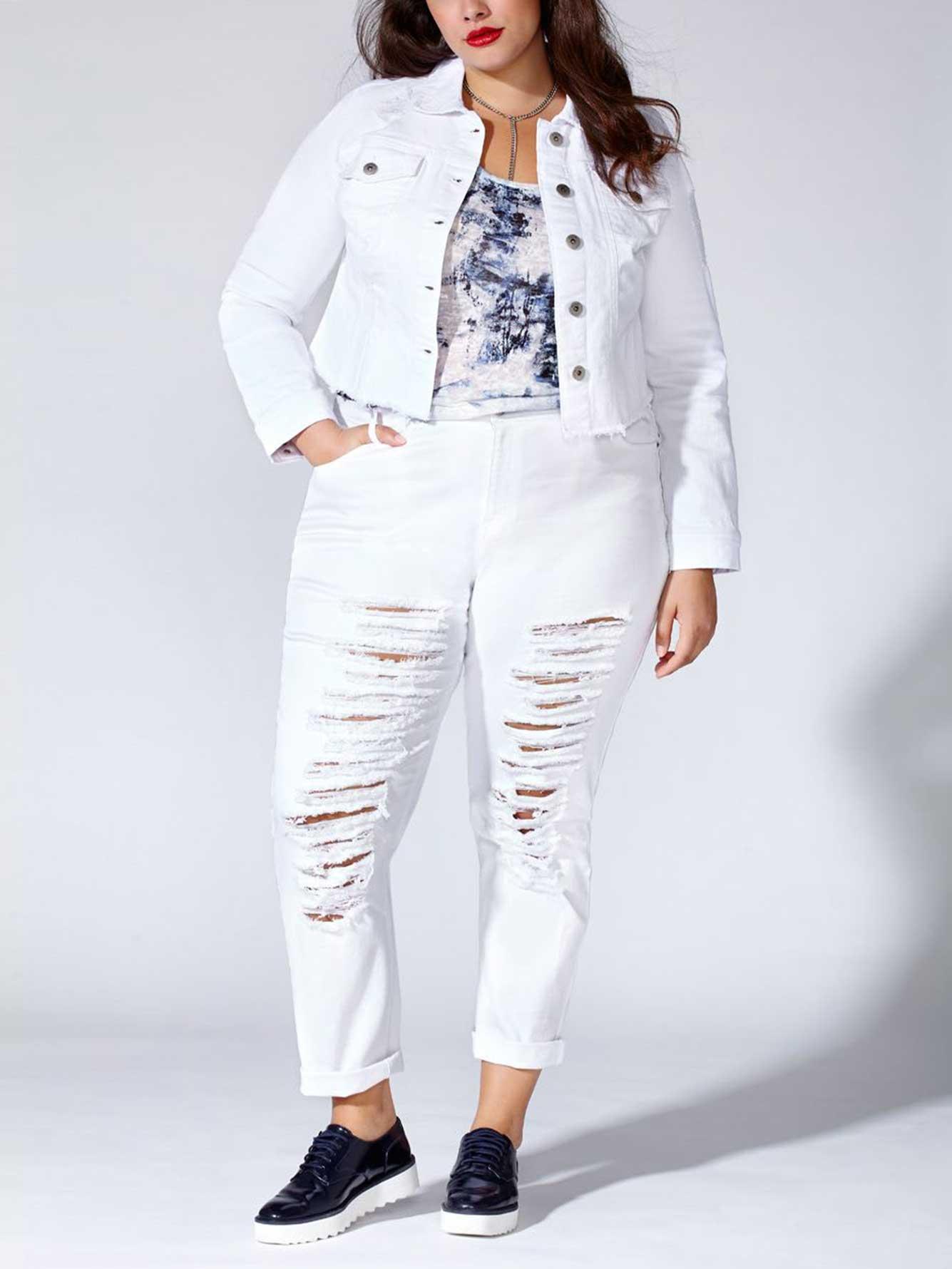 d1c860765f0 Tess Holliday - Cropped White Denim Jacket