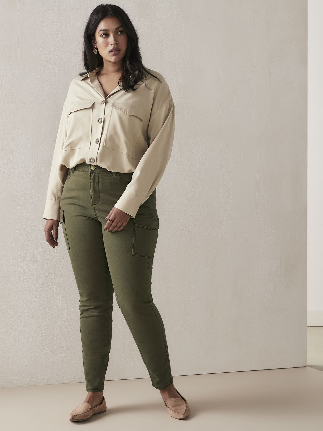 Skinny Khaki Cargo Pants - Addition Elle