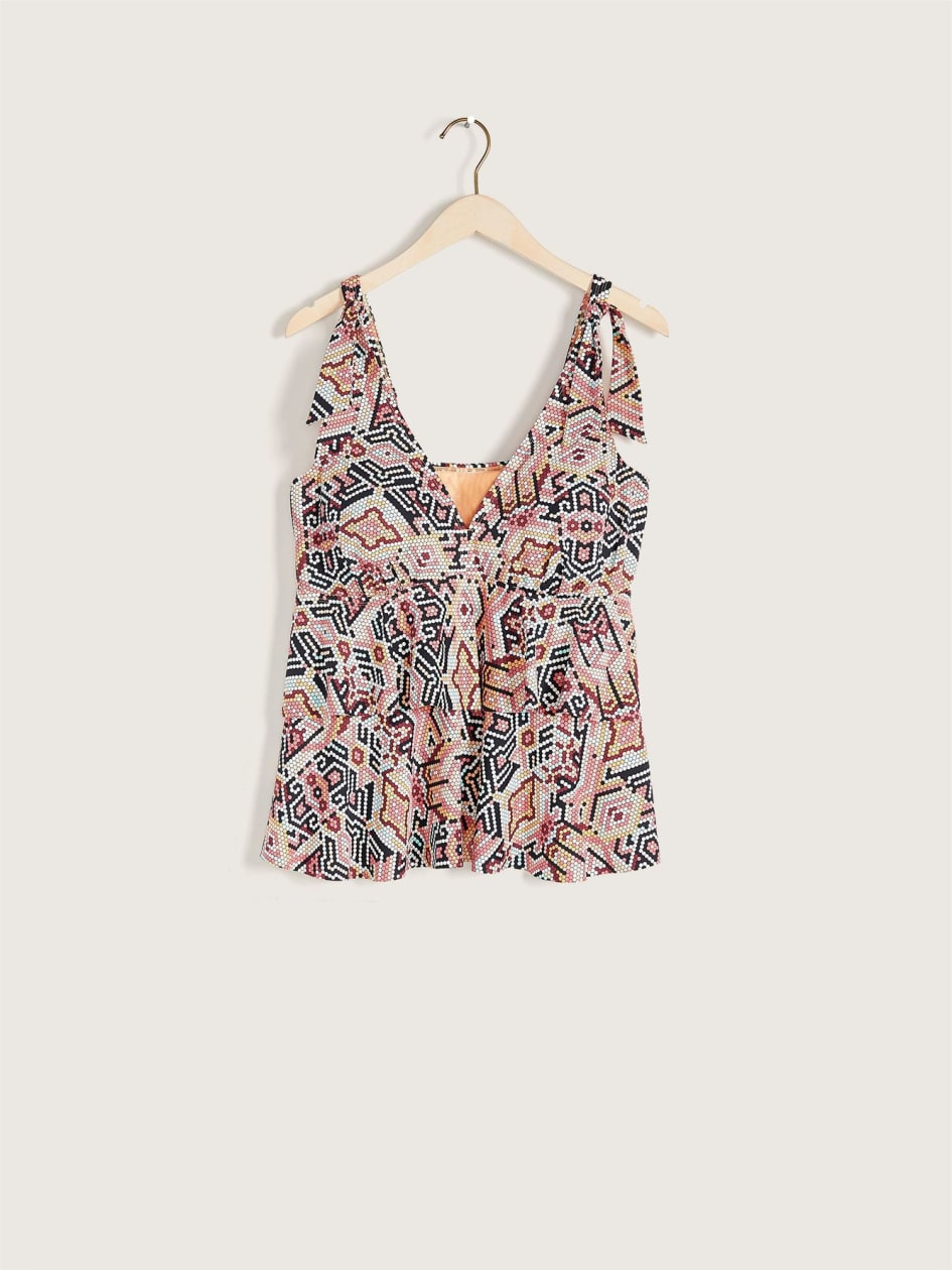 Printed Tankini Top with Ties - Addition Elle