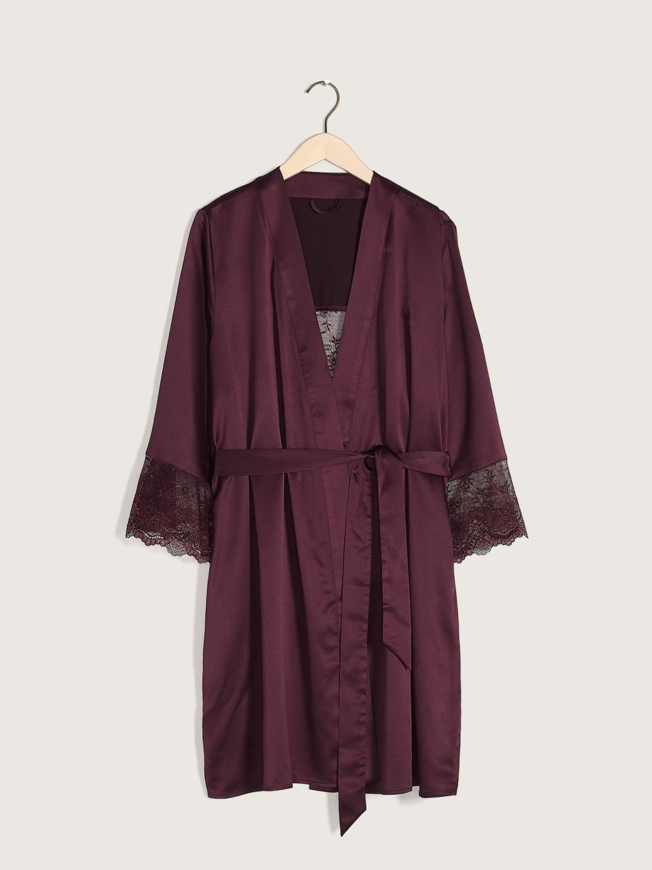 Solid Lounge Robe with Lace Insert - Addition Elle