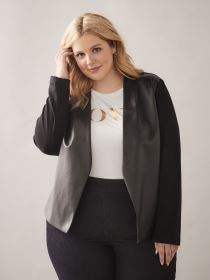 Black Mix-Media Jacket - Addition Elle