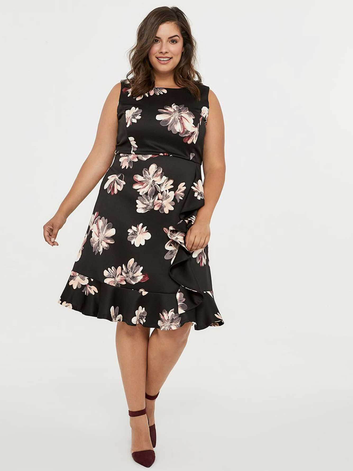43a76db7679 Printed Fit and Flare Dress with Ruffle Detail - In Every Story ...