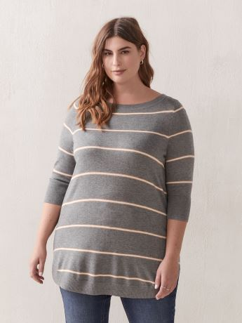 Striped 3/4 Sleeve Tunic Sweater - In Every Story