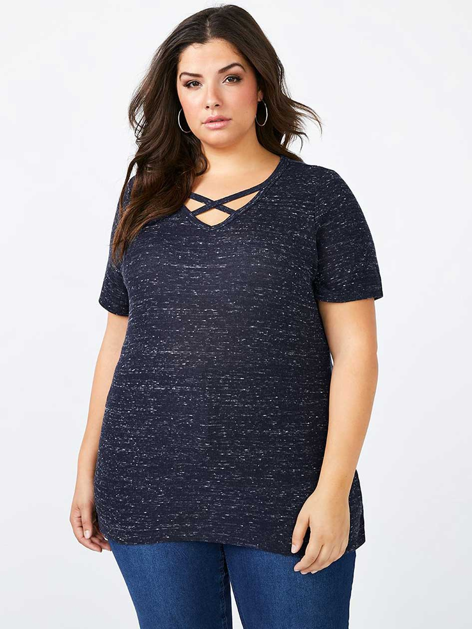 Girlfriend Fit T-Shirt with Criss-Cross Detailing